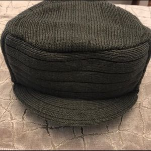 Gray Thick Fall Winter Warm Ribbed Visor Cap Hat
